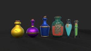 Stylized Alchemist Flasks Collection 3D model