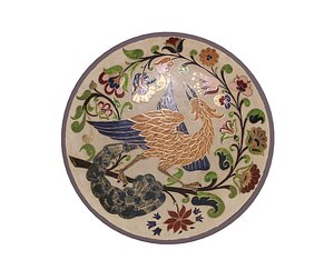 3D model traditional plate 3 -bird