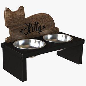 Wooden Cat Figure Pet Bowl 3D model