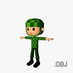 Military Man - OBJ - Low Poly Quad 3D model
