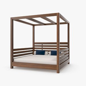 3D Wood Outdoor Beach Bed with Pillows model