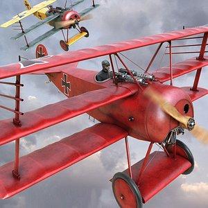 3D Fokker DR-1 airplane model