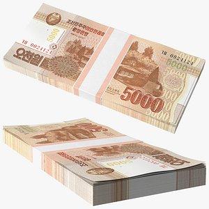 North Korea 5000 Won Banknotes 2013 Pack 3D model