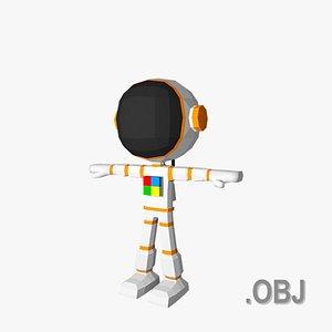 3D Astronaut - OBJ - Low Poly Quad