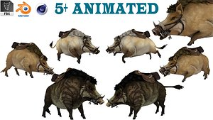 3D Boar Rigged  Animated model