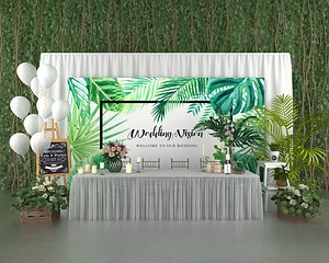 3D wedding balloon lobby flower wall green plants gardening party stage model