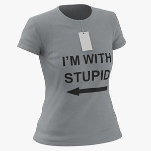 3D Female Crew Neck Worn With Tag Gray Im With Stupid 02 model