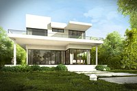 Modern House Exterior with Garden and Interiors for Maya and 3dsmax