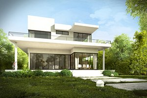 3d modern house garden trees plants