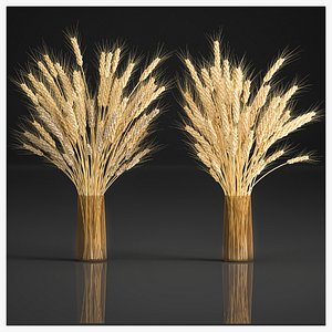 3D Decorative bouquet of wheat ears in a vase for decor 124 model