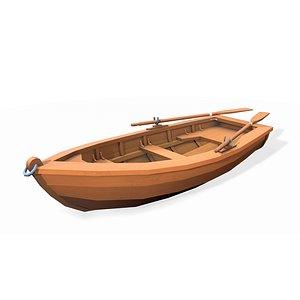 3D Stylized wooden fishing boat