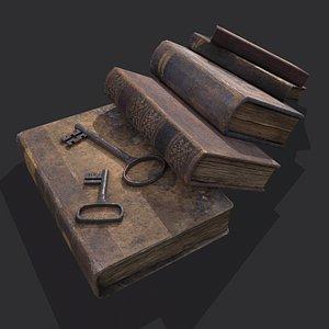 3D model Medieval Book Stack and Keys