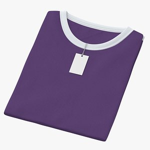 3D Female Crew Neck Folded With Tag White and Purple 02