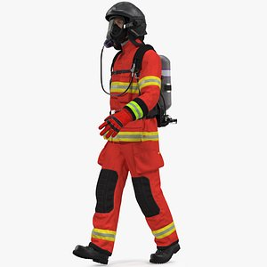3D Firefighter Rescuer Rigged for Maya