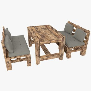 Pallet sofa and table 3D model
