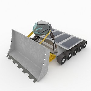 Martian bulldozer with sun panel 3D model