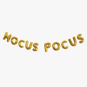 3D Foil Baloon Words HOCUS POCUS Gold
