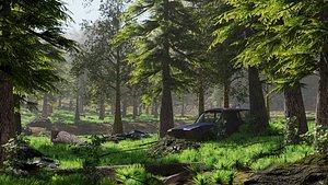 3D abandoned car forest scene model