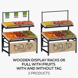 Wooden Display Rack 06 Full with Fruits  - With and Without Tag 3D model
