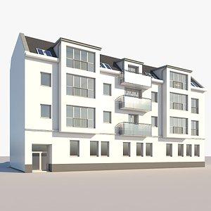 realistic apartment building 3D model