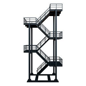 3D industrial escape stair model