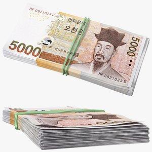 Stack of South Korean 5000 Won 3D