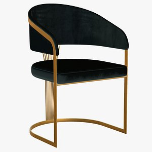 3D model Dining Chair Gold Luxury