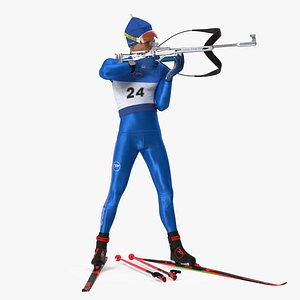 3D Biathlete Fully Equipped USA Team Standing Pose