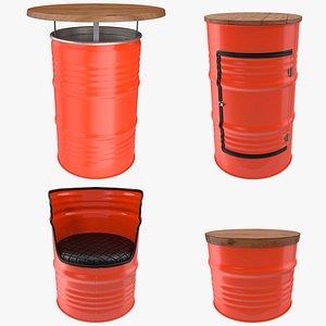 3D Upcycled Steel Drum Barrel Furniture Set