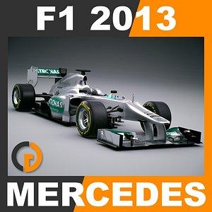 3d model formula 1 2013 mercedes