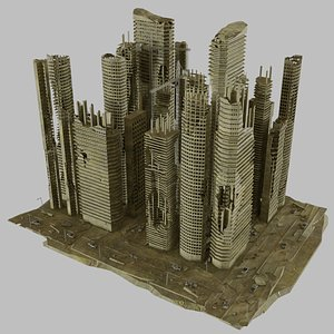 3D destroyed cityscape model