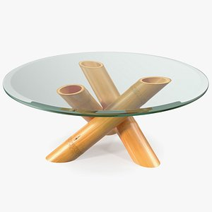 Round Bamboo Coffee Table with Glass Top 3D model