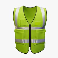 Worker Safety Vest Green Low-poly