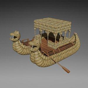 3D Cattail boat - Barco de totora 02 - Low poly 3D model