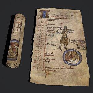 3D model November Manuscript Page and Scroll