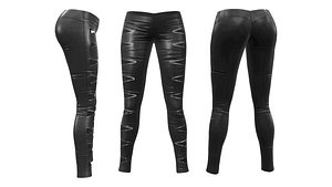 Skinny Pants with Zip Cutouts 3D model