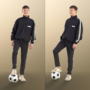 3D boy teen soccer model