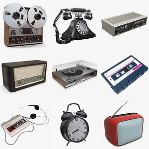 3D turntable radio clock model