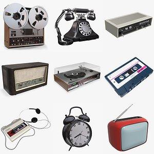 3D turntable radio clock model