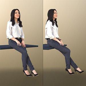 3D woman business sitting model