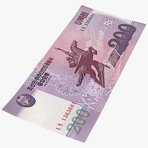 North Korea 200 Won Banknote 3D model