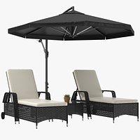 Sun Loungers With Patio Umbrella