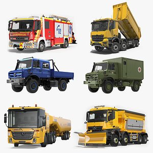 3D Mercedes Benz Trucks Rigged Collection 3 model