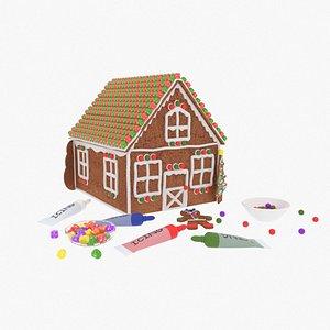 gingerbread house gumdrops candies 3D model