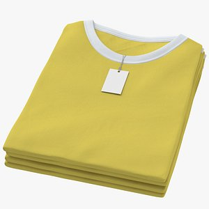 3D Female Crew Neck Folded Stacked With Tag White and Yellow 02