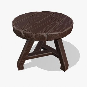 3D wooden stool stylized