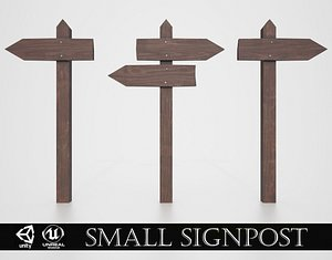 Medieval Small Signpost 3D
