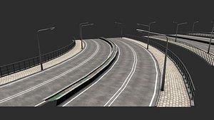 Modular highway PBR 3D model