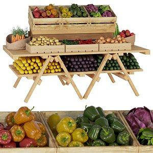 Market showcase with vegetables 2 3D model