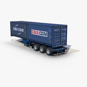 3D container 20ft chassis trailer